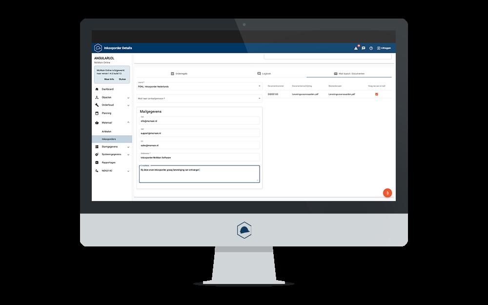 Nieuwe features McMain Online - Inkooporders mailen